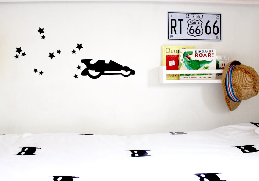 Image of Race car star dust wall decal set