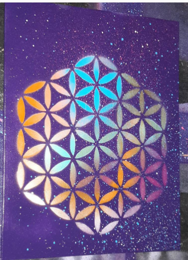 Image of 8x10 Flower of Life Stencil Painting