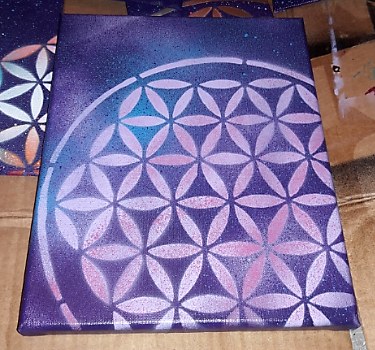 Image of 8x10 Flower of Life Stencil on Canvas