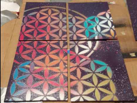 Image of FOUR 5x7 Canvas Boards of The Flower of Life!