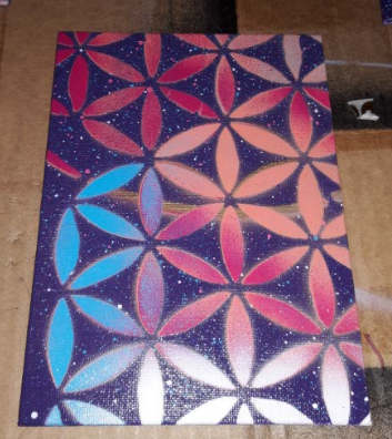 Image of 5x7 Flower of Life canvas board Painting