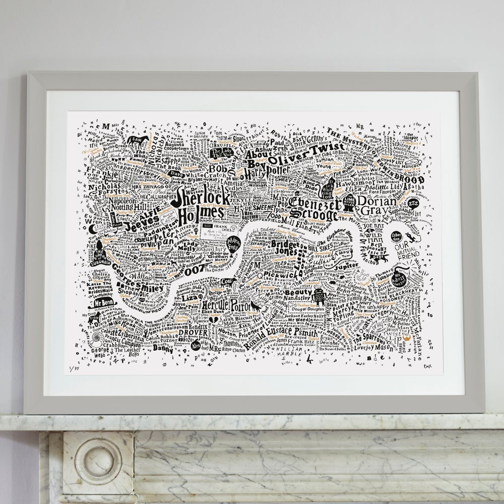 Image of Literary London Map (White, Black and Gold)
