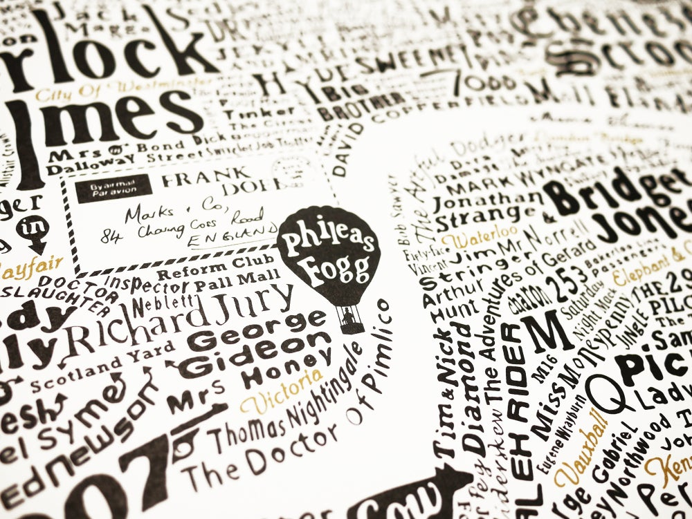 Literary London Map (White, Black and Gold)