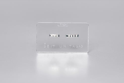Image of MINI silver earrings with inscription in Latin