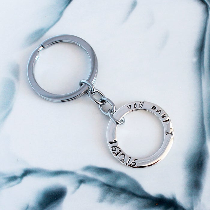"""Image of Personalised """"Circle of Love"""" Sterling Silver Key Ring"""