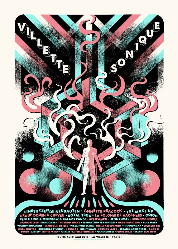 VILLETTE SONIQUE Festival (Paris 2017) screenprinted poster