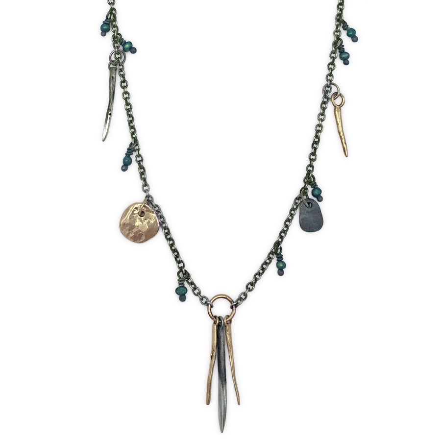 Image of spike & rock necklace w/ beads (P131SILBRA2024)