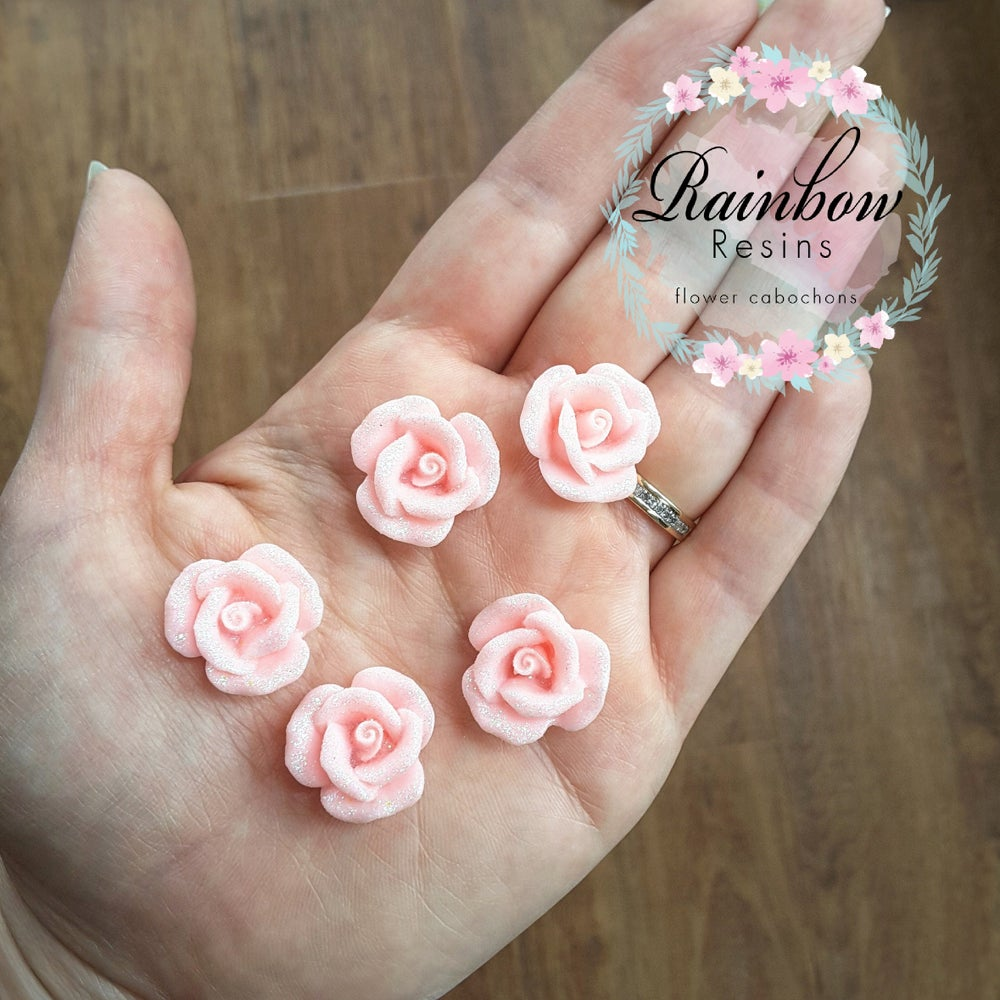 Image of Sparkly baby pink roses x 10