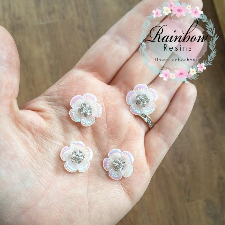 Image of White AB/diamante flowers x 5