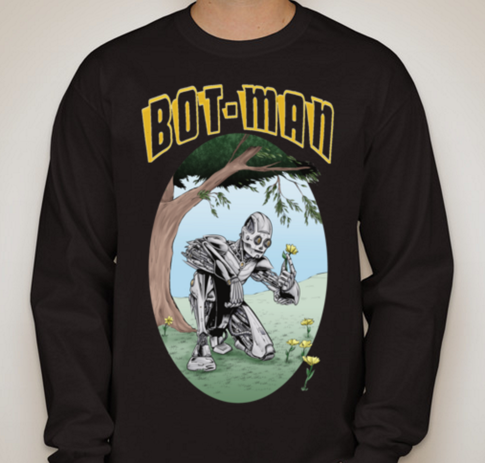 Image of Peace, Love, Bot-Man Black/White/Dark Heather/Sports Grey Long Sleeve Shirt
