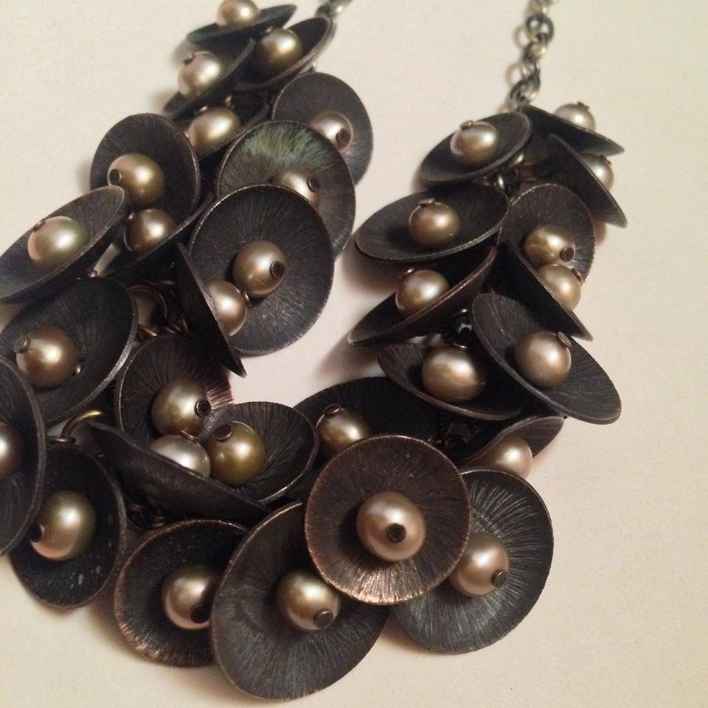 Image of Queen of Swords Handmade Brass Beige Freshwater Pearl Necklace | Minimal Avant Garde | Tarot Jewelry
