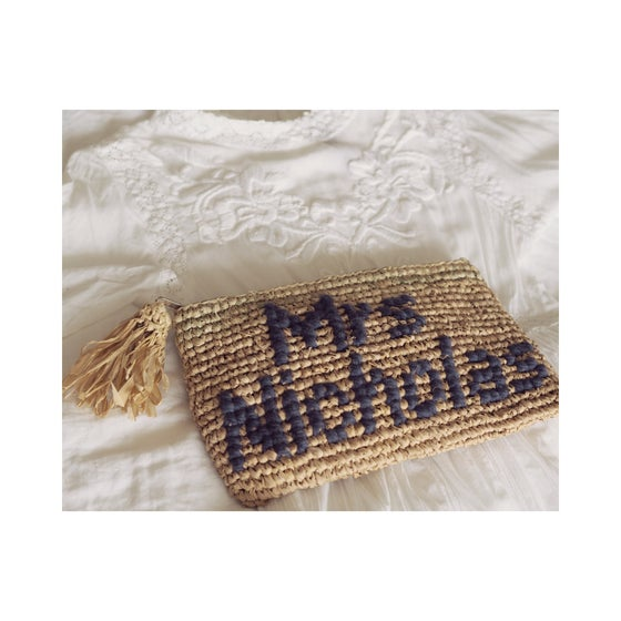 Image of Bespoke handstitched raffia clutch