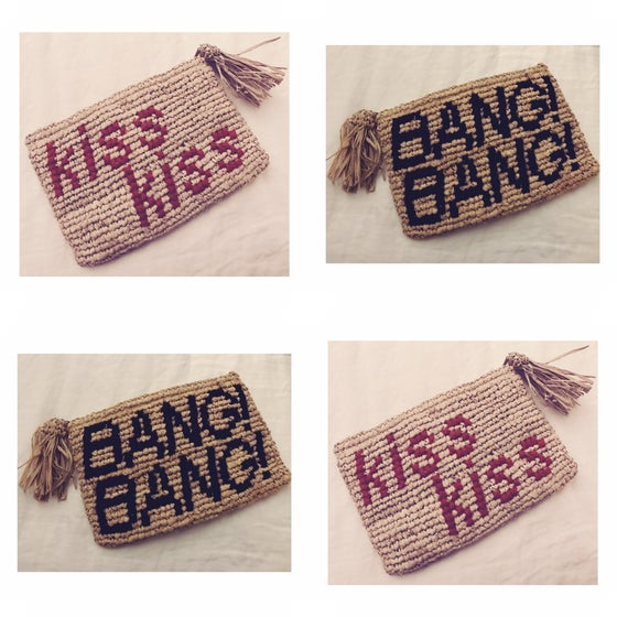 Image of kiss kiss BANG! BANG! raffia clutch