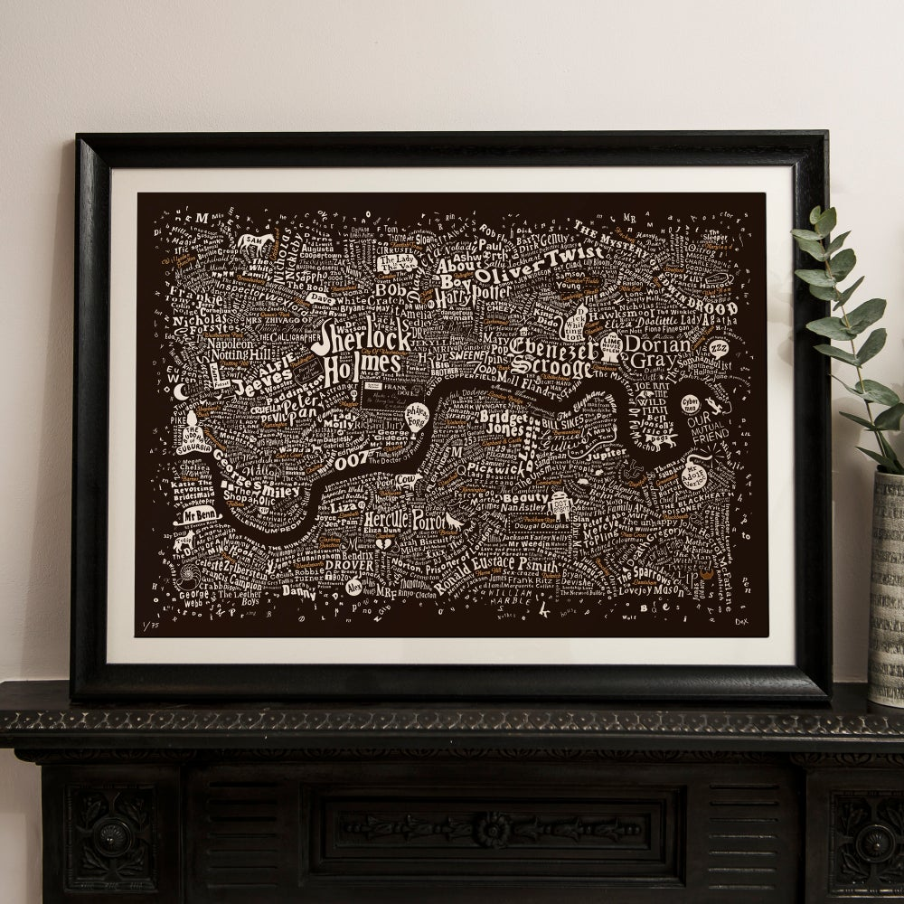 Literary London Map (Bronze & White on Brown Plike)