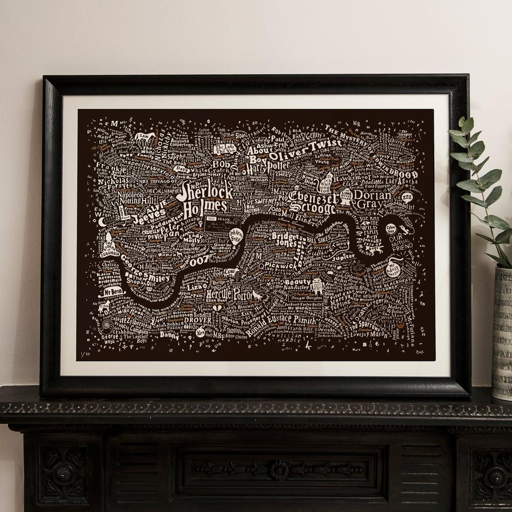 Literary London Map (Bronze & White on Brown Plike)