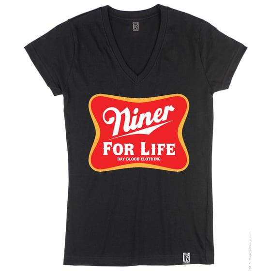 Image of Women's Niner For Life Vneck (black)