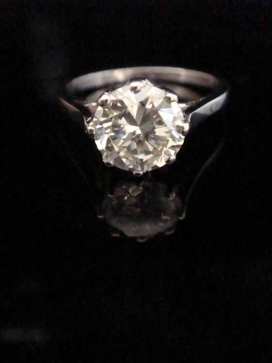 Image of Art Deco Platinum Diamond Solitaire Ring 1.59ct