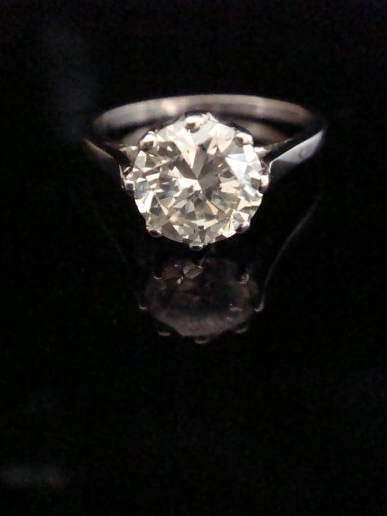 Image of Art Deco Platinum Diamond Solitaire Ring 1.59ct