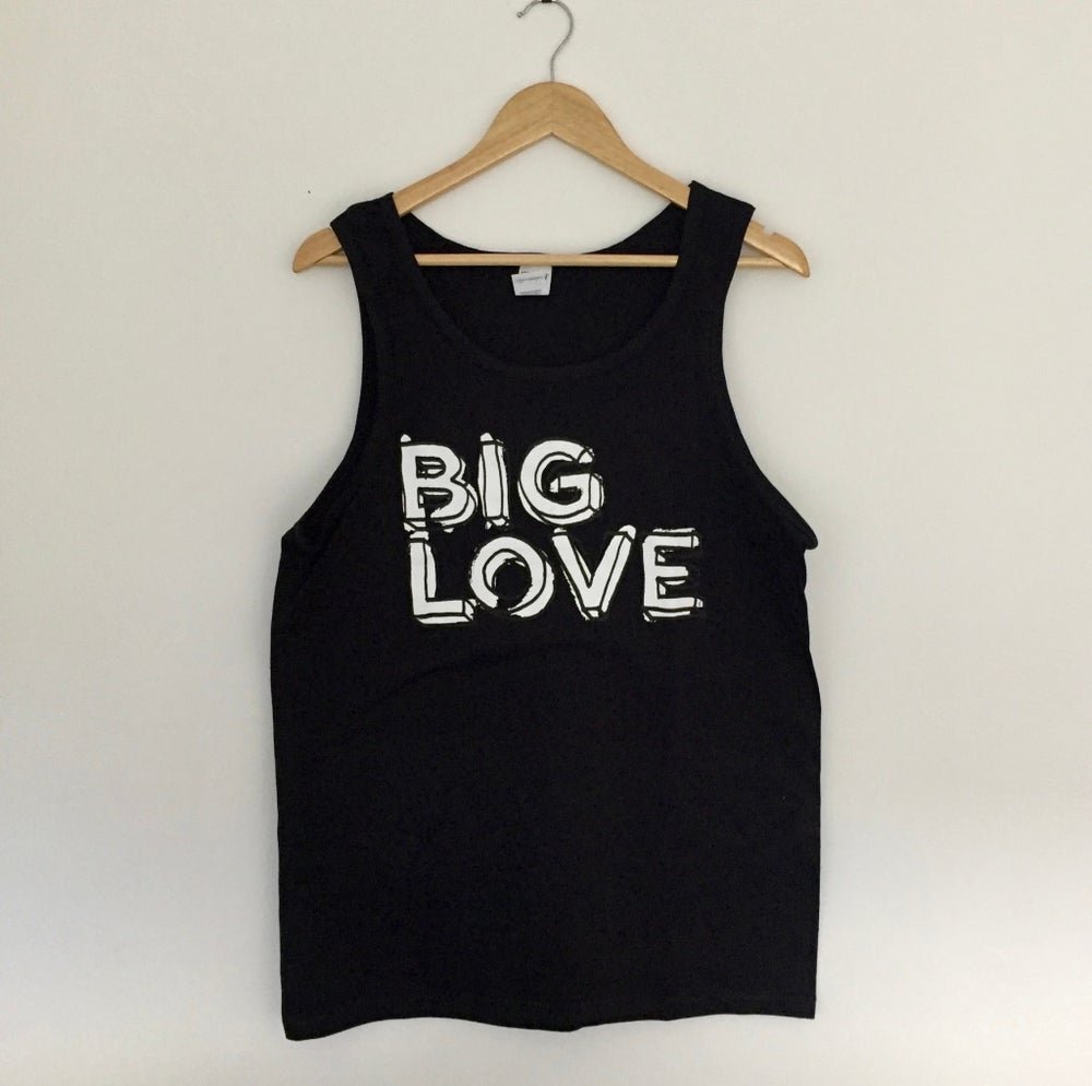 Image of 'BIG LOVE' SUPERSOFT VEST BLACK & WHITE PRINT ON BLACK