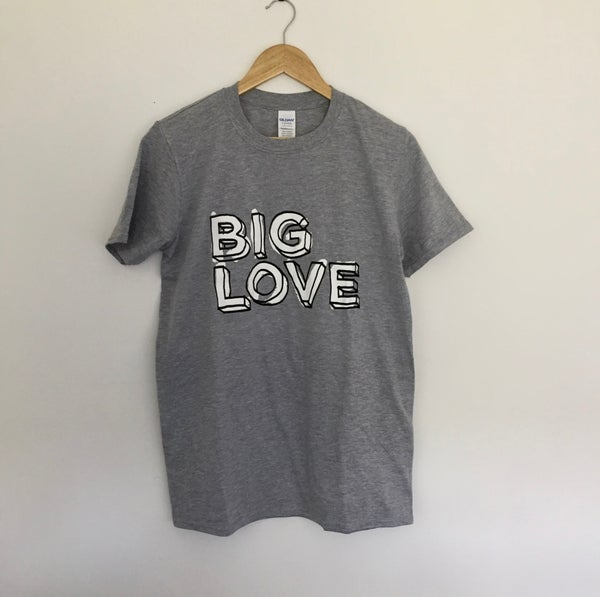 Image of 'BIG LOVE' SUPERSOFT T-SHIRT BLACK & WHITE PRINT ON SPORT GREY