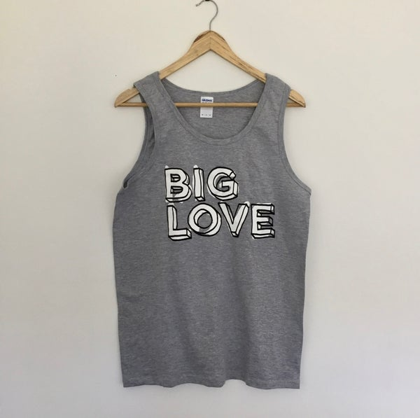 Image of 'BIG LOVE' SUPERSOFT VEST BLACK & WHITE PRINT ON SPORT GREY