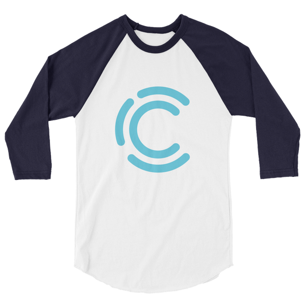 Image of Curiosity in Focus 3/4 sleeve Raglan Tee (White/Navy)