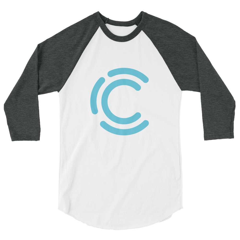 Image of Curiosity in Focus 3/4 sleeve Raglan Tee (White/Heather Charcoal)