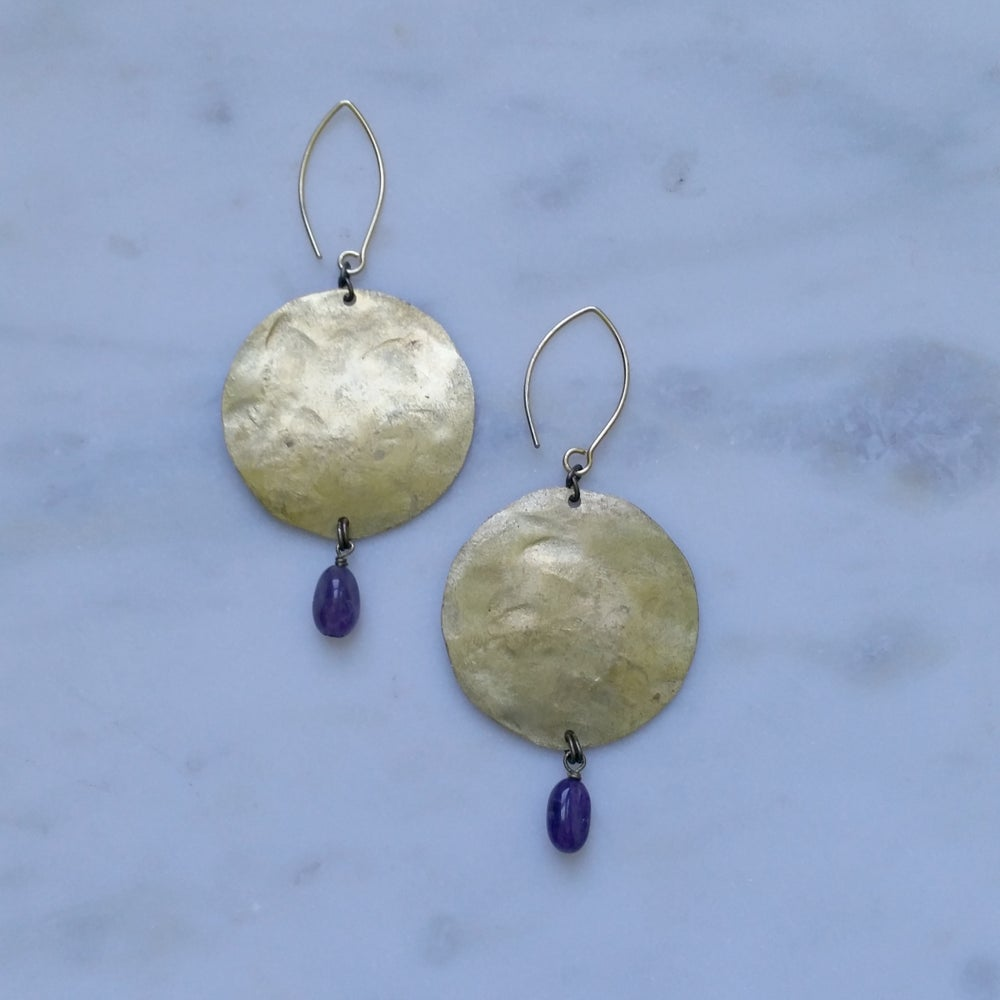 Image of Big Moon Earrings in Amethyst