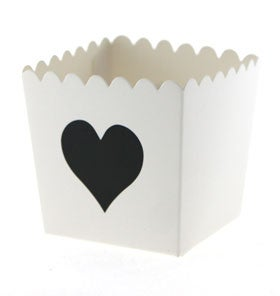 Image of White with Black Heart Scallop Favour Box