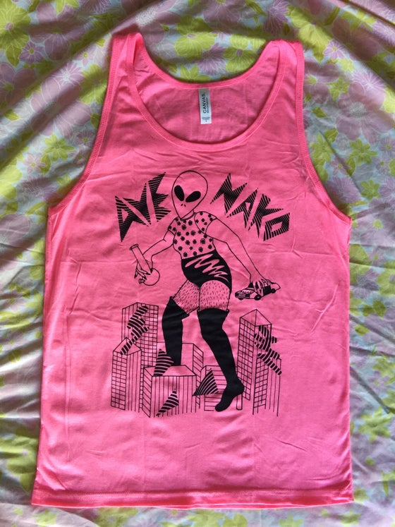 Image of Stoner Alien - tank top (pink/white)