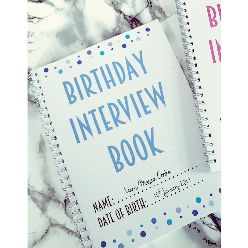 blue personalised birthday interview book loved by olivia