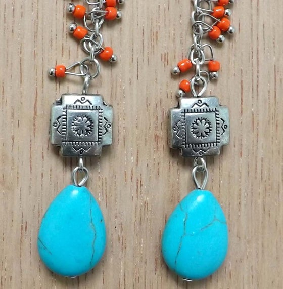 Image of Aztec Turquoise+Wire Raindrop Earrings