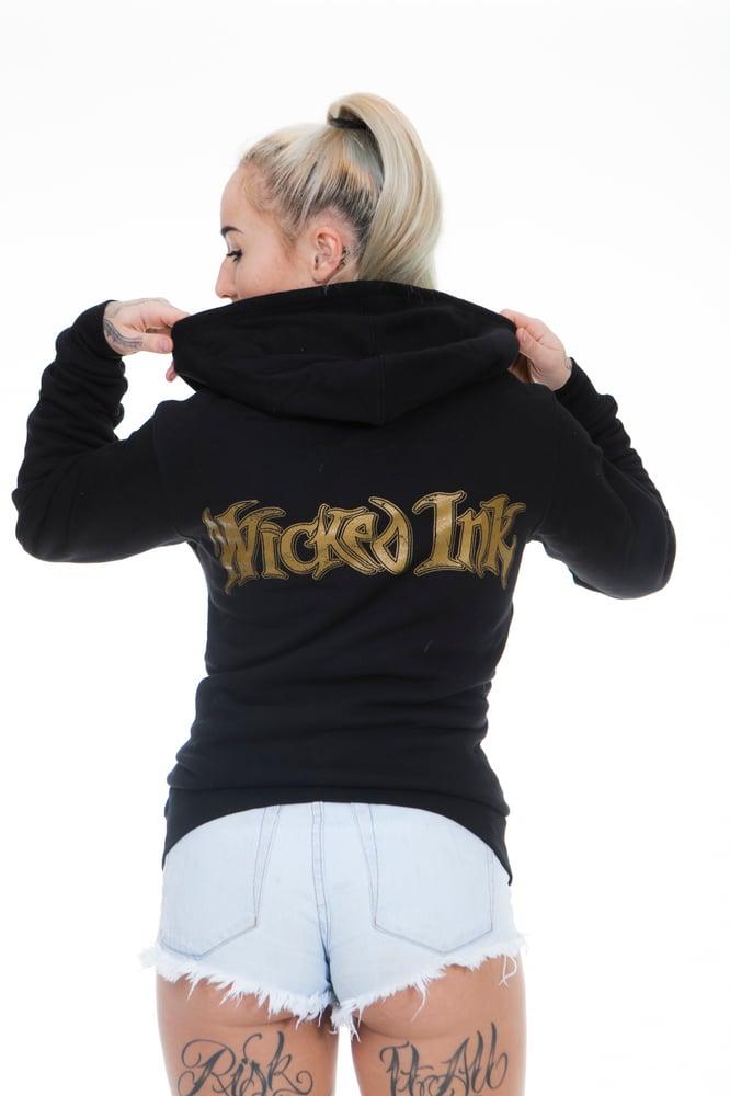 Image of Black Hoodie W/Gold WI Logo