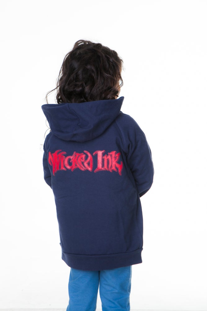 Image of Blue Hoodie W/Red WI Logo