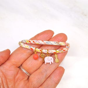 Image of Elephant,pineapple and palmtree bracelet