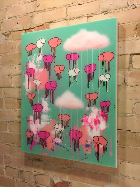 "Image of Raining Cows, ""WATERMELON SKY"" 24""X30"""