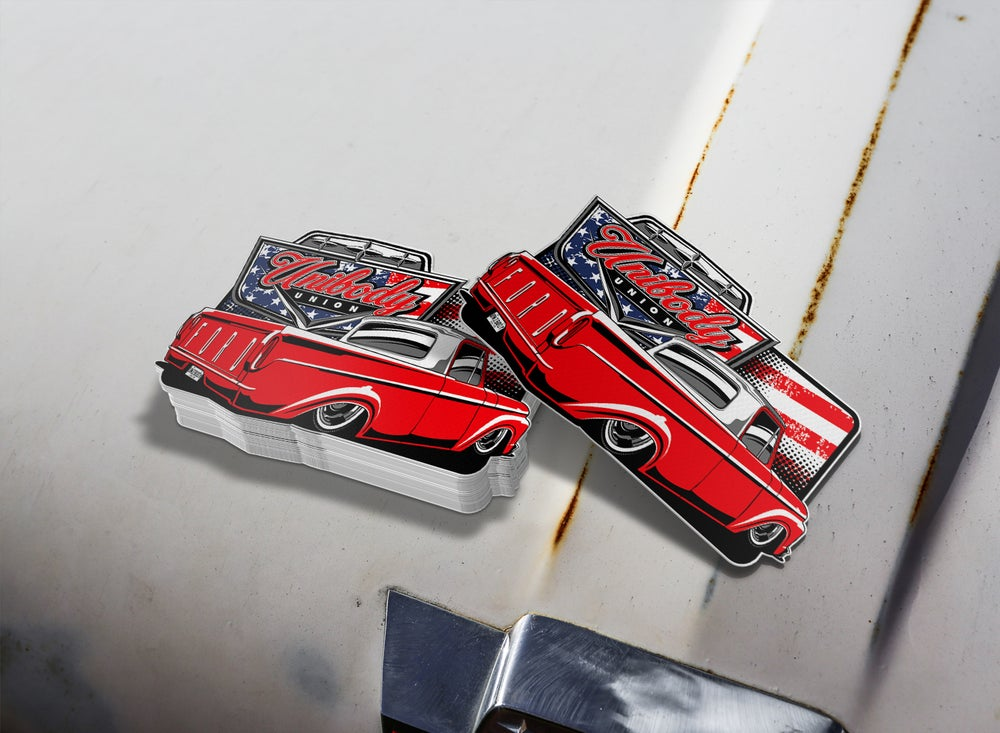 Image of Ford F100 Red, White & Blue Sticker / Decal