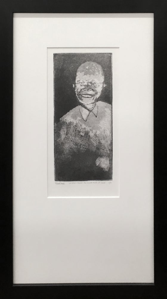 "Image of ""your smile is stained - the cry and march of shame"" intaglio, edition of 10"