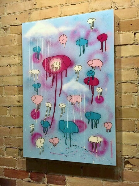 "Image of Raining Cows, ""IT'S TIME"" 24""X36"""