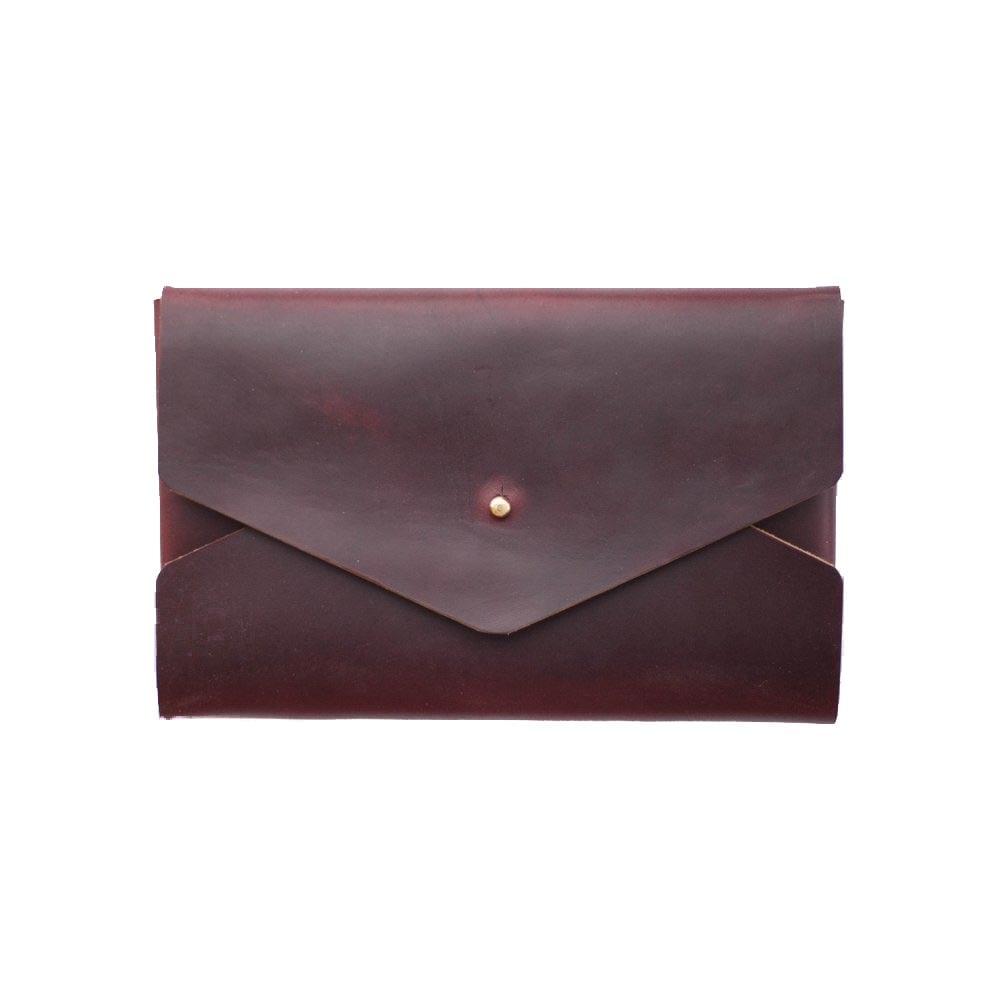 Image of Oxblood Horween Chromexcel Envelope Clutch