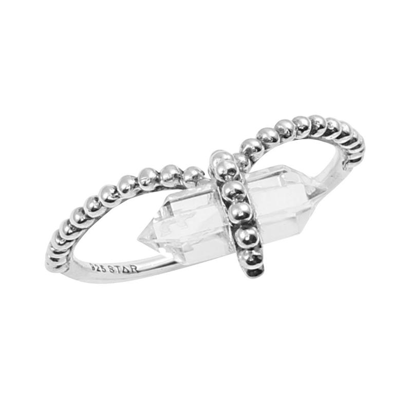 Image of Sterling Silver & Clear Quartz Crystal Ring