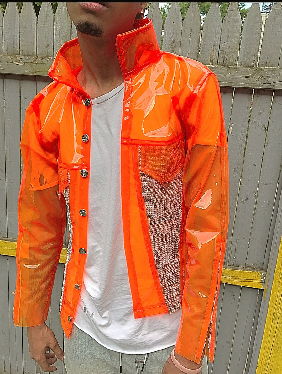 Image of Orange caution Rhinestone jacket