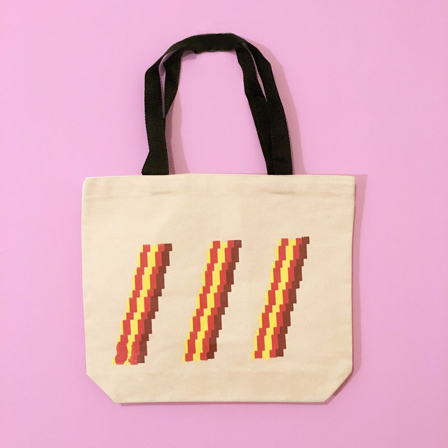 Image of 8-Bit Bacon Black Strap Tote Bag