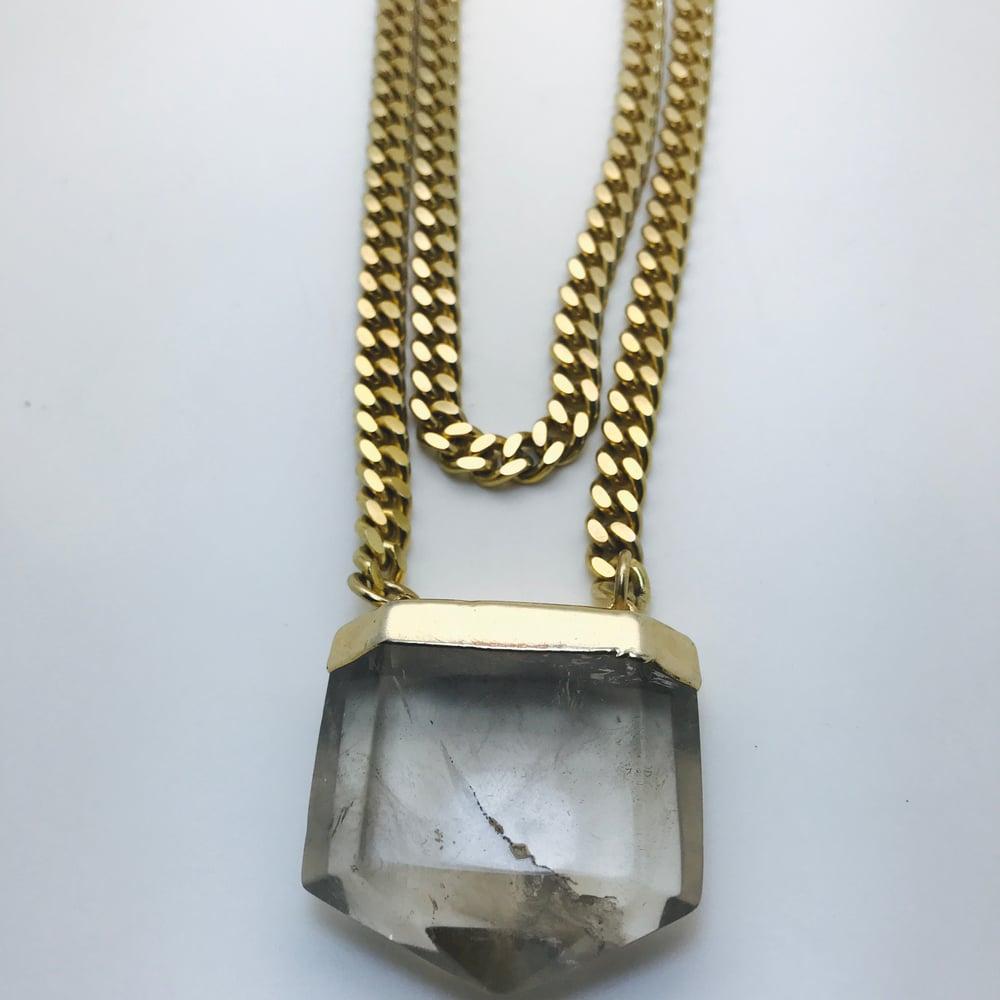 Image of Atlantis smokey Quartz Crystal on double chain