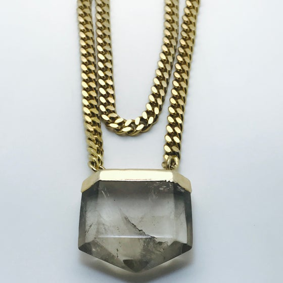 Image of Atlantis smokey Quartz Crystal on double chain