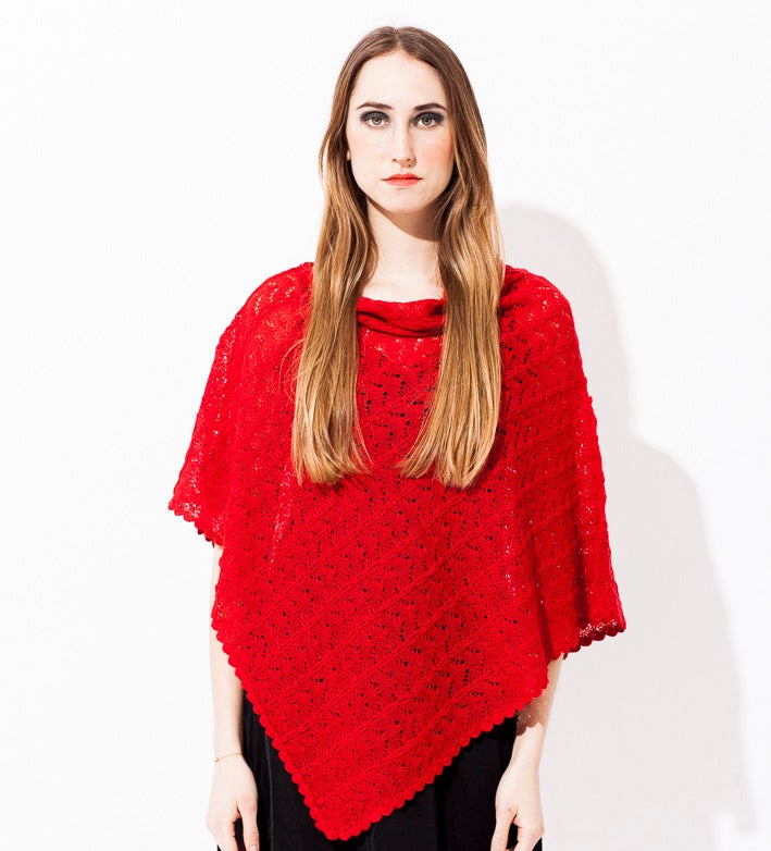 Image of Lace knitted Poncho                                   Red