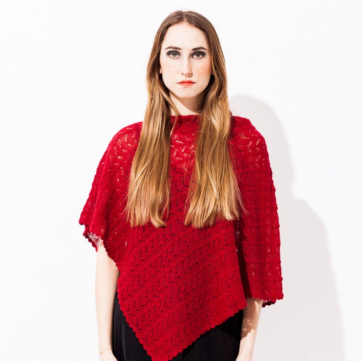 Image of Lace knitted poncho    Dark Red