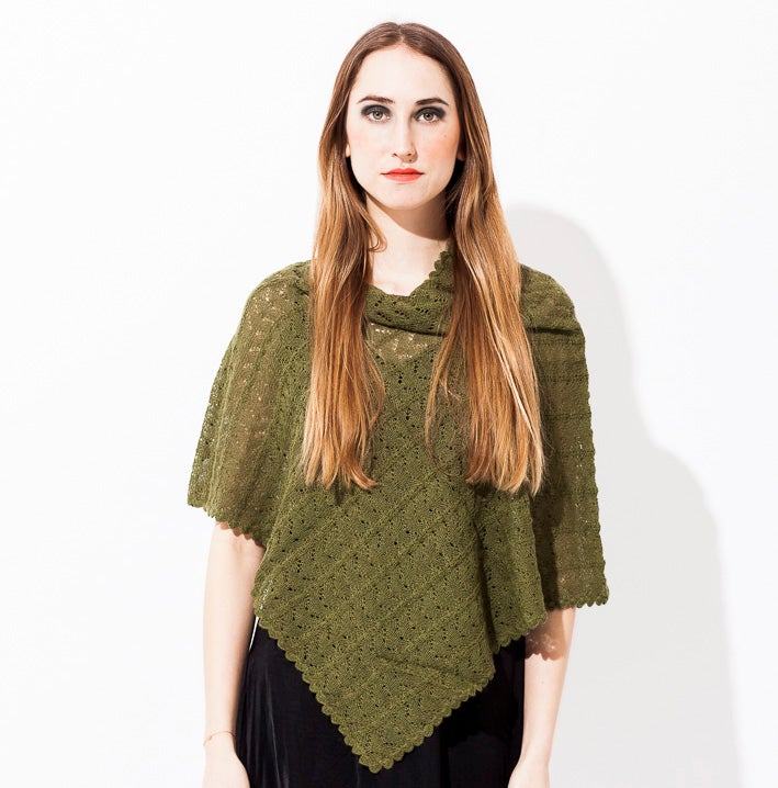 Image of Lace knitted poncho    Dark Green