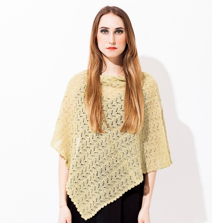Image of Lace knitted poncho Light green