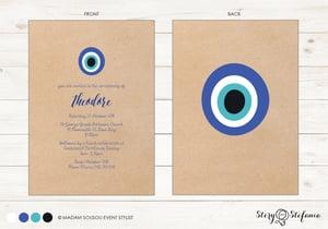 Image of Mati (evil eye) Christening Invitation